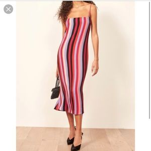 Reformation Rosalie slip dress in stripe